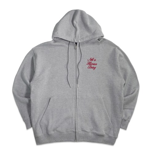 New Basic Script Zip up Hoody - Grey