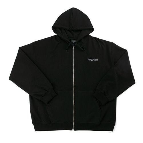 Basic Logo Zip-up Hoodie - BLACK