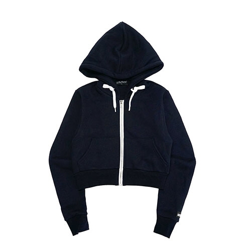 [18FW] LOGO PATCHED CROP ZIP-UP HOODIE - NAVY